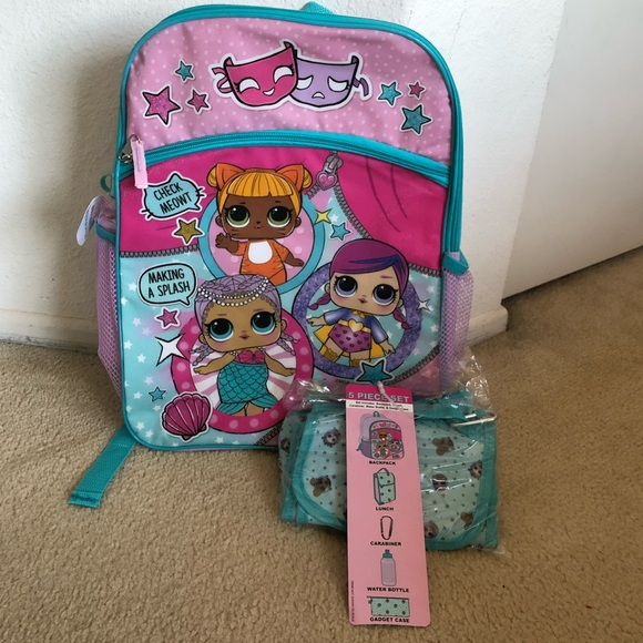 L.O.L Surprise Dolls Backpack with Lunch Box Water Bottle Pencil Set for Girls